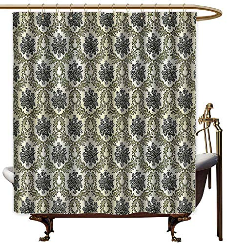 (shower curtains for bathroom periodic table Damask Decor Collection,Vintage Floral Damask Brocade With Abstract Bouquet Greenery Pattern Artwork Print,Green Beige,W69