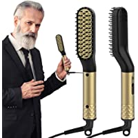 Beard Straightener for Men, ANLAN Beard Straightening Comb Electric Hair Straightener Brush with PTC Ceramic Heating Control Hot Comb Dual Voltage (100V-240V)