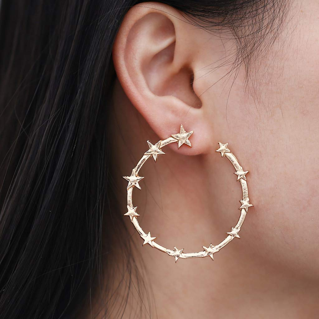 Chinahope-beauty Drop Earrings Earrings Gift Jewelry Gift Wedding Party Bridal FringedPunk Minimalist 40mm Thick Tube Big Gold Alloy Round Star Circle Hoop Earrings