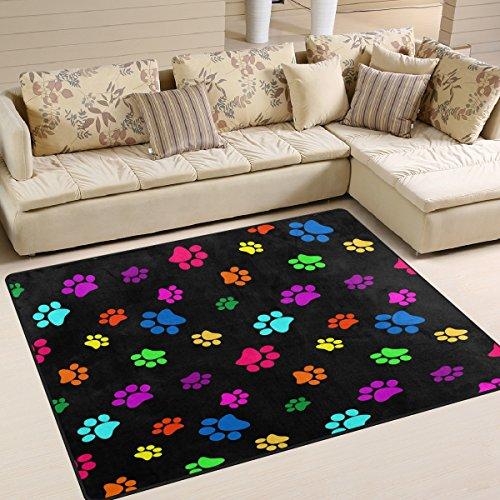 ALAZA Colorful Dog Paw Print Black Area Rug Rugs for Living Room Bedroom 7' x 5' (Rug Paw Print)