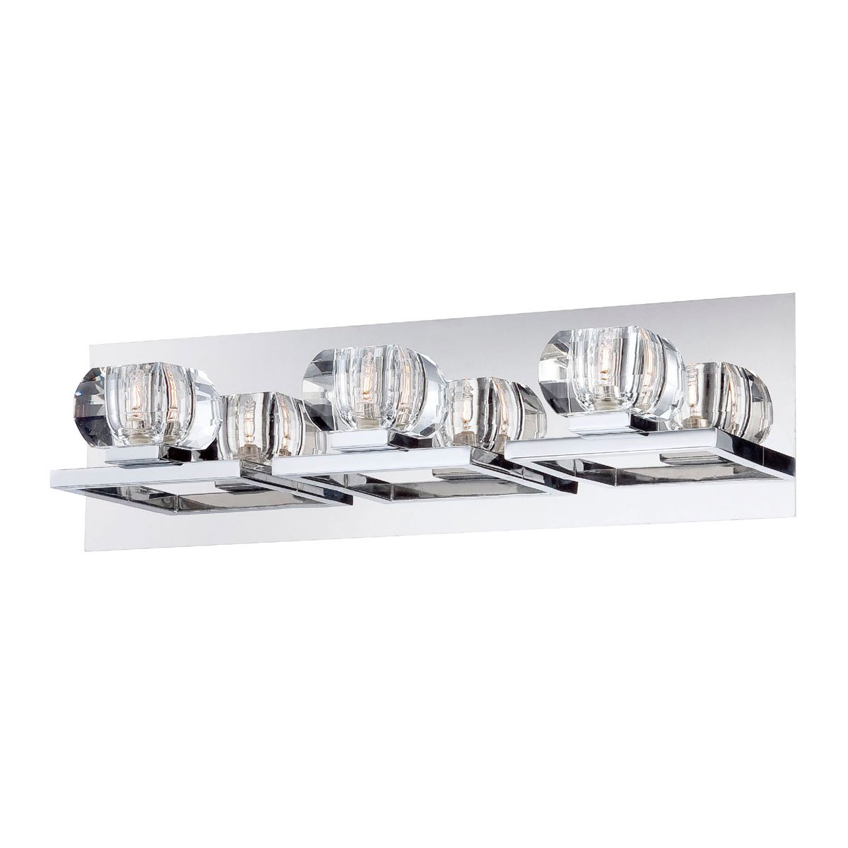 Eurofase Casa Squared Faceted Crystal Orbs Bathroom Vanity Light, Chrome Finish, Halogen Light, 19.25 Inches Wide – Model 26357-010