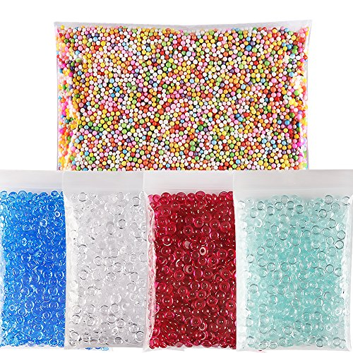 Teenitor Fishbowl Beads for Slime, Beads in Slime,240g Acrylic Smooth Slime Supplies Slime Beads and 1 Pack Colorful Slime Floam Beads Mini 0.1-0.15 inch