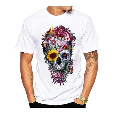 Men's T Shirts With Cool Designs | Amazon Com Pp P Men T Shirts Flower Skull Printed Voodoo Skull