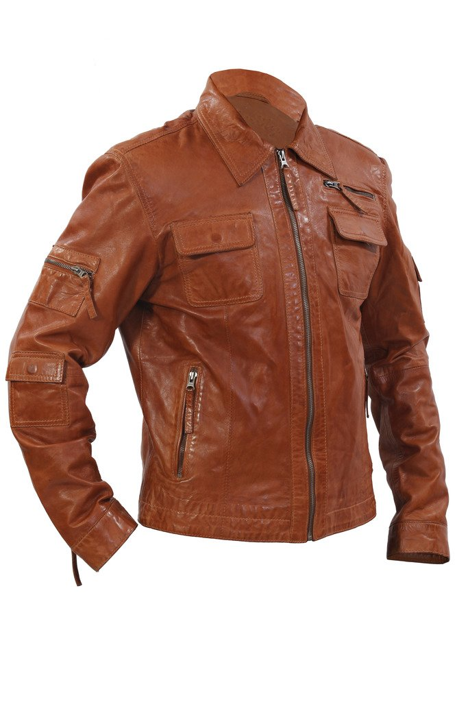 Men's Casual Tan Nappa Leather Short Multi-Pocket Biker Jacket M