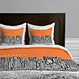 DENY Designs Bird Ave New York Orange Duvet Cover, Queen