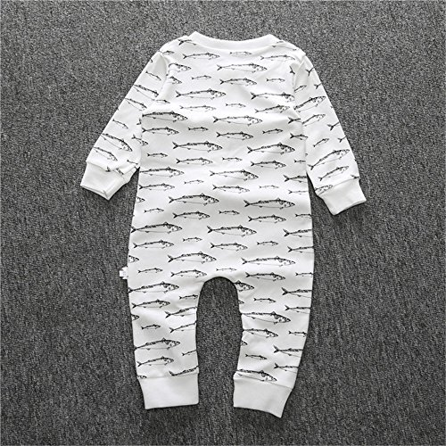 Kids Tales Newborn Infant Baby Boys Girls Cotton Shark Print Union Suit