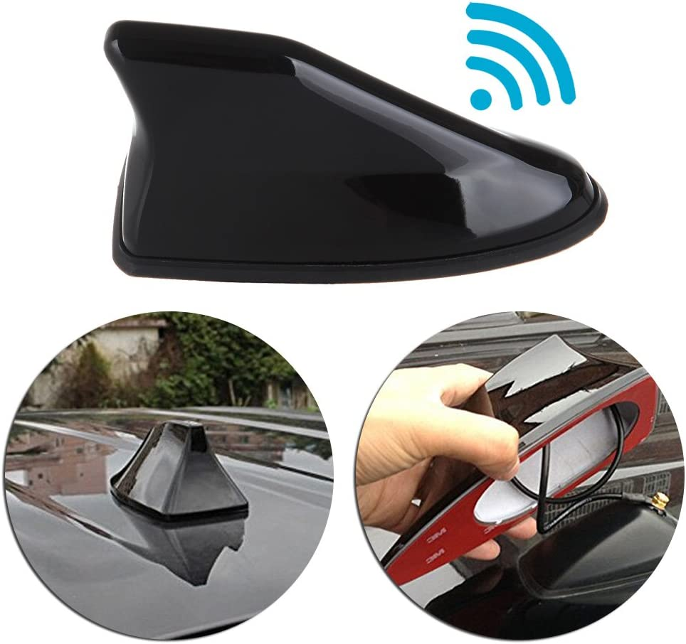 Universal Car Shark Fin Roof Antenna Aerial FM//AM with Radio Signal Decor Black