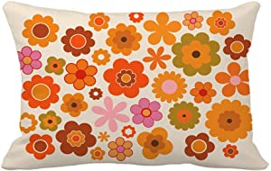 Topyee Throw Pillow Cover Orange 70S Vintage Flowers Green Power 1970 Retro Seventies 12x20 inches Home Decor Pillow Case Cushion Cover Pillowcase for Couch Bed Sofa