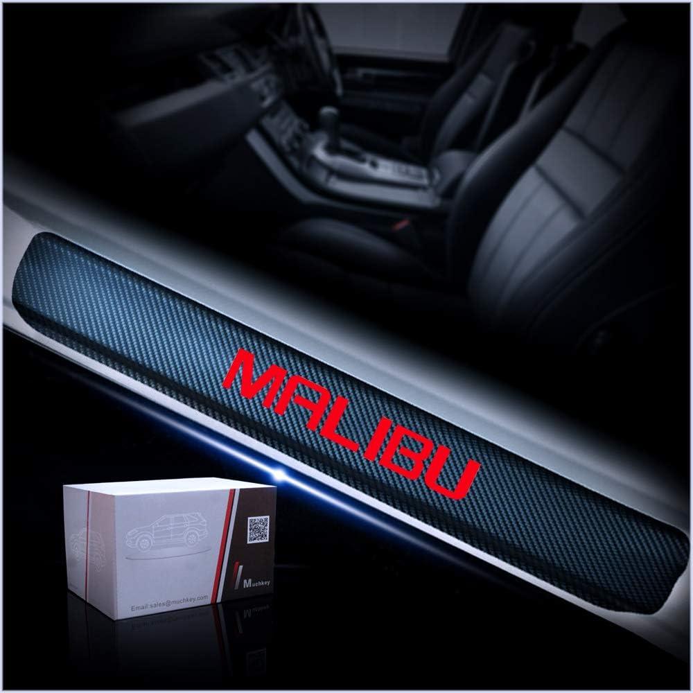 for Chevrolet Malibu Door Sill Protector Reflective 4D Carbon Fiber Sticker Door Entry Guard Door Sill Scuff Plate Stickers Auto Accessories 4Pcs Red