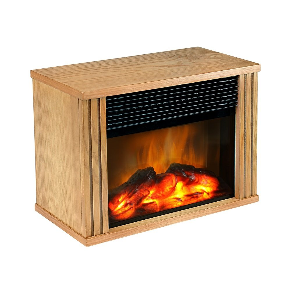 DONYER POWER Mini Electric Fireplace 1500W Protable Fireplace Heater, Wood Fram Gift