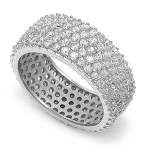 Micro Pave Clear CZ Wide Eternity Statement Ring Sterling Silver Band Size 8