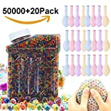 TacToy Water Beads Rainbow Mix, 50000 Beads Non Toxic Water Beads Vase Filler, Bottle Pack Bead Sensory Balls for Kids, Decoration, Plants and More (20 Pack Water Balloons Included)