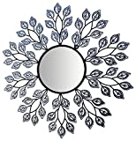 LuLu Decor, Decorative Crystal Leaf Metal Wall Mirror, Diameter 24'', Inner Round Mirror 9'' for Living Room & Bed Room
