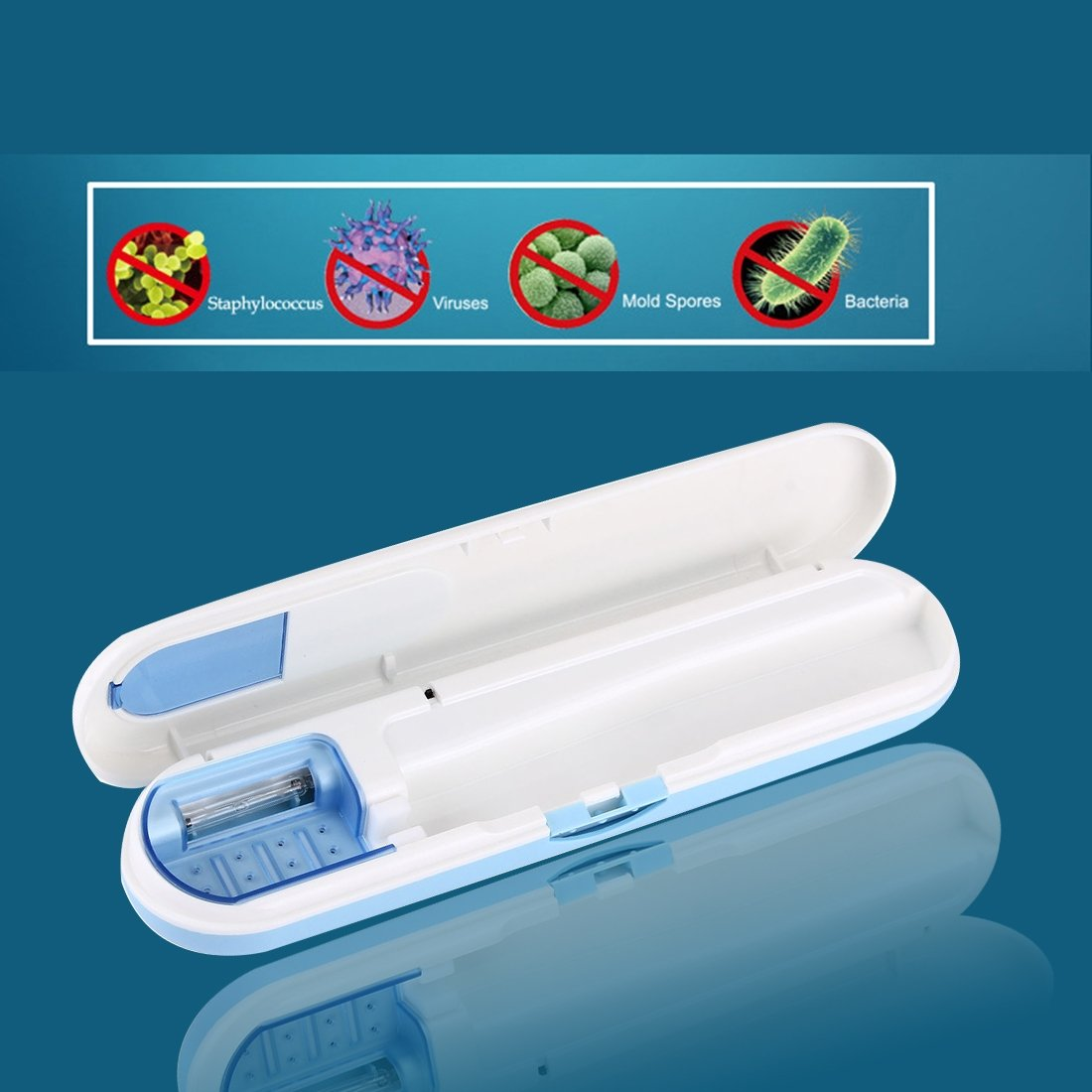 Luz ultravioleta UV cepillo de dientes esterilizador - Único Soporte de cepillo limpiador/desinfectante: Amazon.es: Salud y cuidado personal