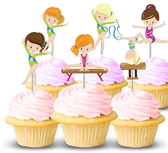 Image Unavailable Not Available For Color Gymnastics Party Cupcake Toppers