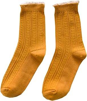 Alien Storehouse Calcetines de algodón para Mujeres Calcetines Altos de algodón 3 Pares Amarillos: Amazon.es: Deportes y aire libre