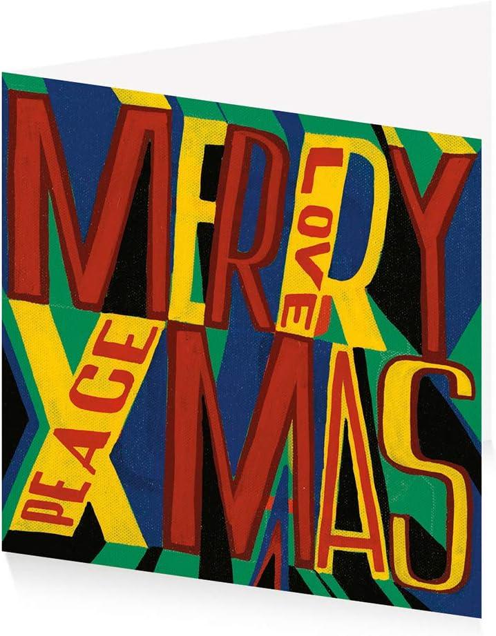 Royal Academy Lot de 10 cartes de No/ël Bob et Roberta Smith Merry Xmas 15 x 15 cm