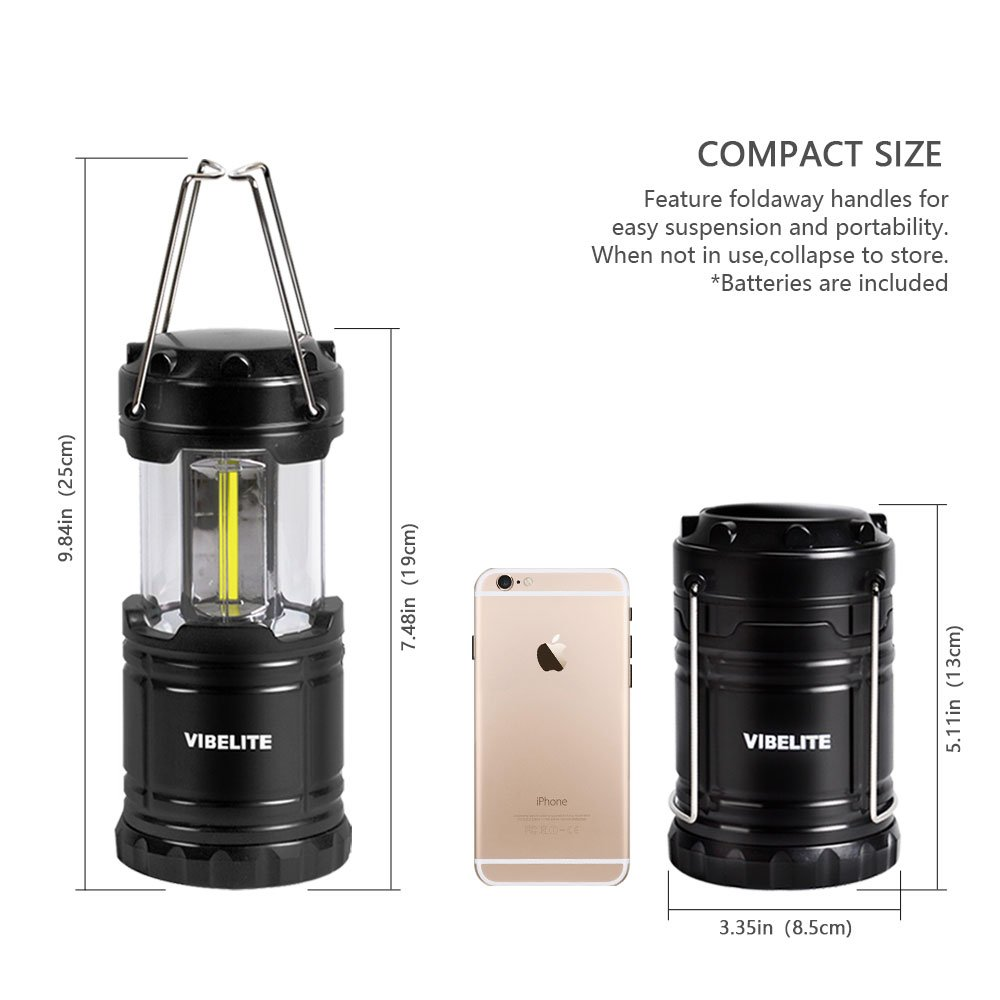 VIBELITE Led Lantern,Camping Lantern Collapsbile COB light with 12 AA Batteries Survival Kit for Emergency IP54 for Hiking Emergencies Hurricanes 4 Pack Black by VIBELITE (Image #7)