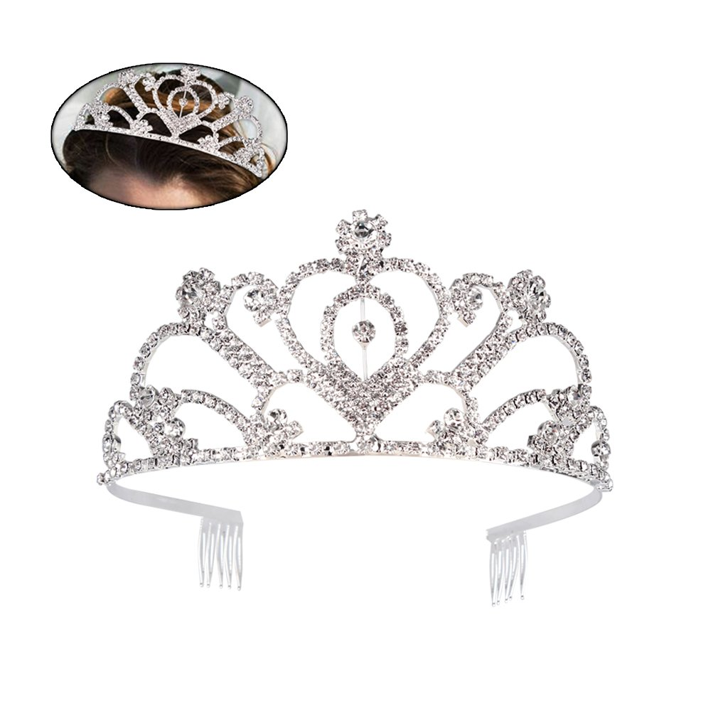 Ondder Wedding Prom Bridal Crown Rhinestone Crystal Decor Headband Veil Tiara for Women and Girls (Style 1)