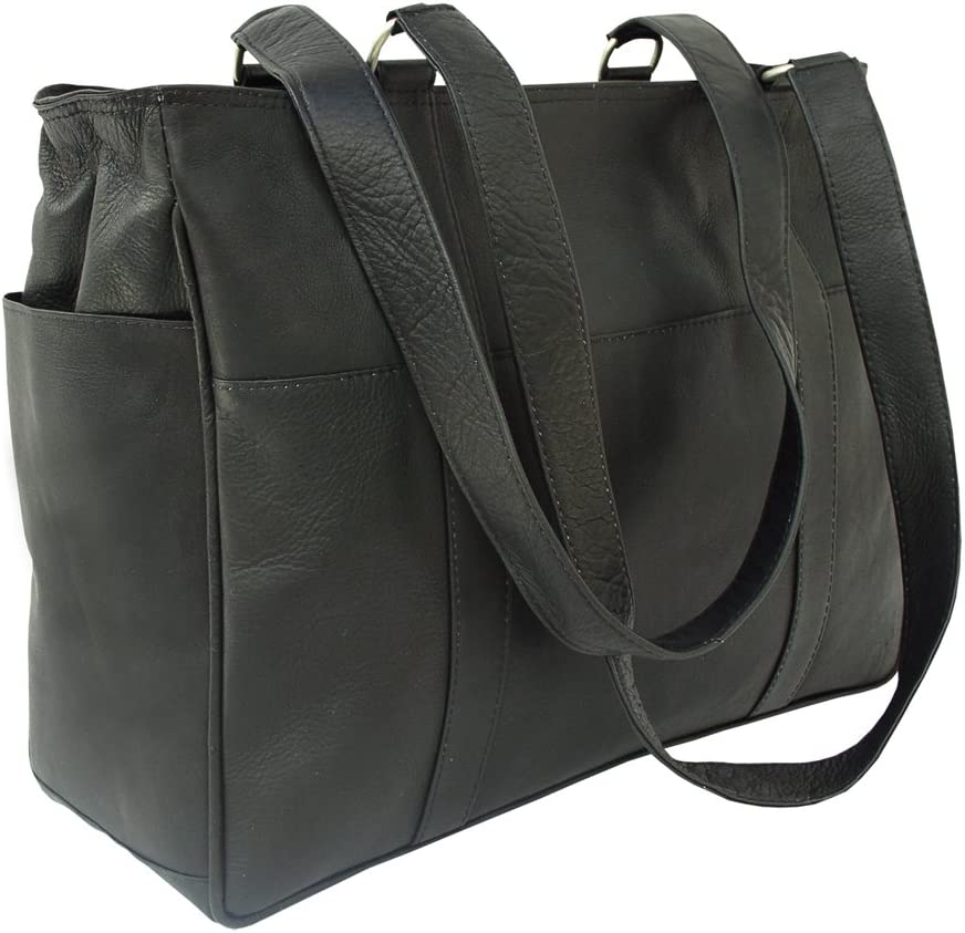 One Size Black Piel Leather Small Shopping Bag