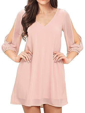 bf6db0cb4e16 Noctflos Summer Blush Pink Cold Shoulder V Neck Chiffon Shift Short Dress  for Beach Casual Party