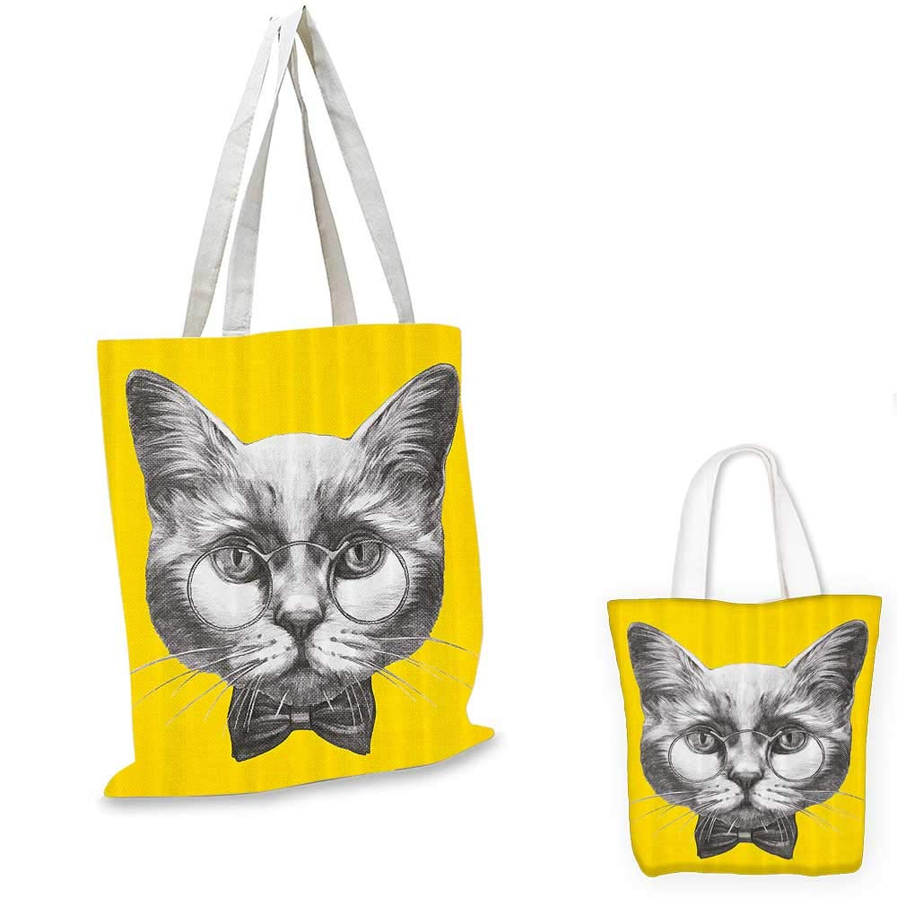 Animal canvas messenger bag Hand Drawn Portrait of Cute Cat with Glasses and Bow Tie Sketch Hipster Print canvas beach bag Yellow Grey White 14x16-11