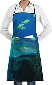 NRIEG Sand Tiger Shark Green Seafish Faction Unisex Kitchen Cooking Garden Apron£¬Convenient Adjustable Sewing Pocket Waterproof Chef Aprons