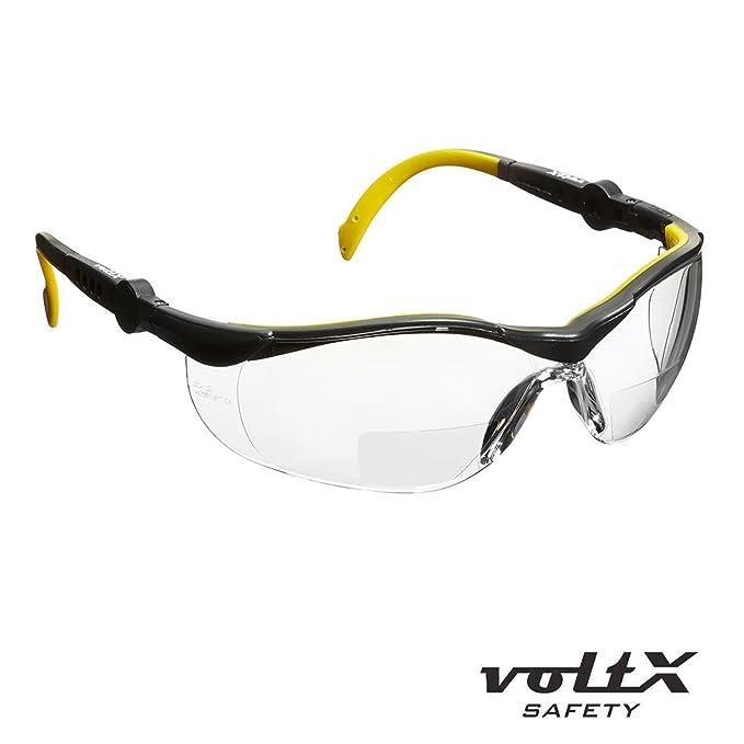 Revestimiento antiempa/ñamiento Lentes UV Clase 1 voltX GT Gafas de seguridad de lectura bifocales adjustables con estuche safety glasses TRANSPARENTE dioptria +1.0 Certificado CE EN166FT