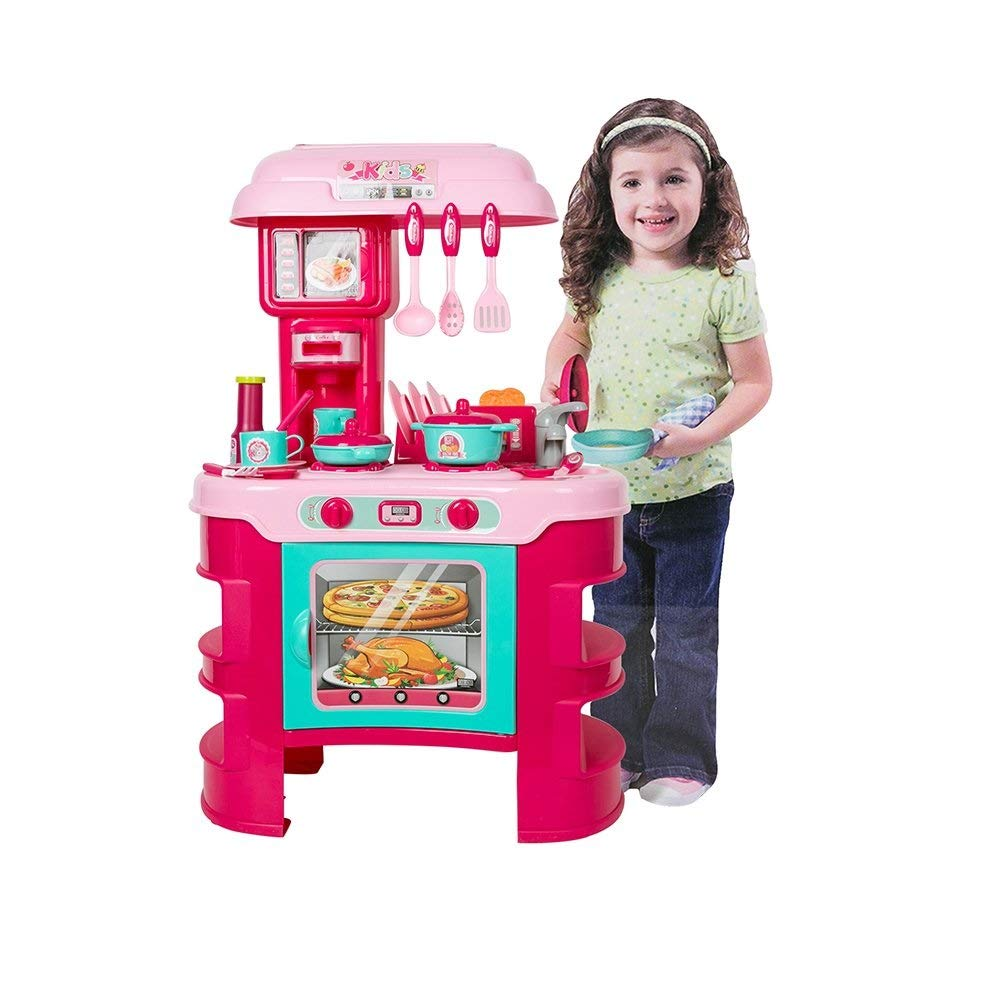 Jimmy's Toys Kids Play Kitchen Set Stove, Oven and Utensils for Girls Ages 1 to 2 - Complete Cooking PlaySet for Children (Cosina de Juguete para Niñas)