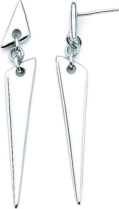 Architectural jewelry Black silver triangle dangle earrings Geometric drop earrings Modernist earrings Blue enamel disc earrings stud