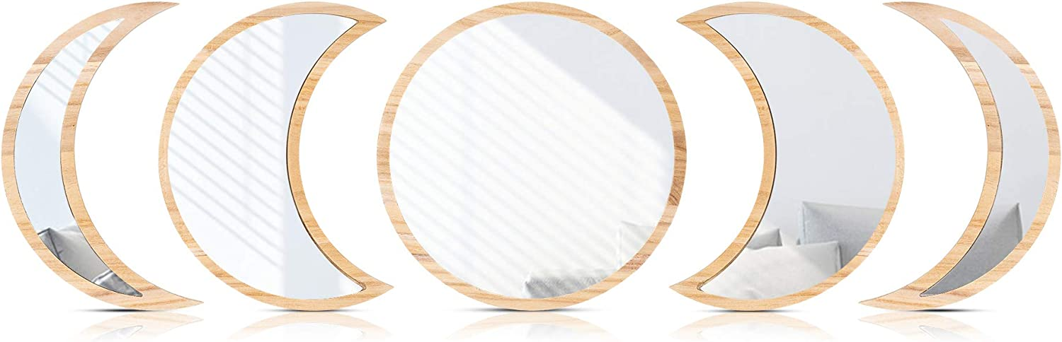 MI & HER - Moon Phase Mirror Set - 100% Real Glass Mirror - Authentic Paulownia Wood Frame - Premium Quality Moon Mirror Wall Decor for Bohemian Home Decor. Includes Hardware. Easy to Mount. (Natural)