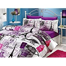 100% Turkish Cotton Comforter Set 5 Pcs.!! Paris Eiffel Tower Vintage Purple Theme Themed Full / Queen Size Bedding Linens