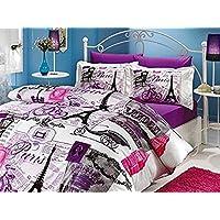 100% Turkish Cotton 4 Pcs!! Paris Eiffel Tower Vintage Purple Theme Themed  Full Double Queen Size Quilt Duvet Cover
