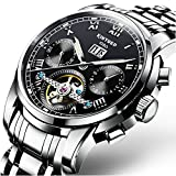 Swiss Men's Stainless Steel Black Tourbillon Automatic Mechanical Watch