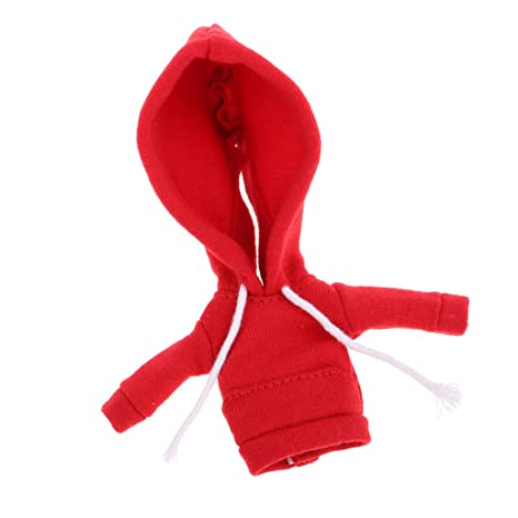 B Baosity Dolls Outfit Abrigo con Capucha de Moda para OB11 Mini Blythe Muñeca - Rojo