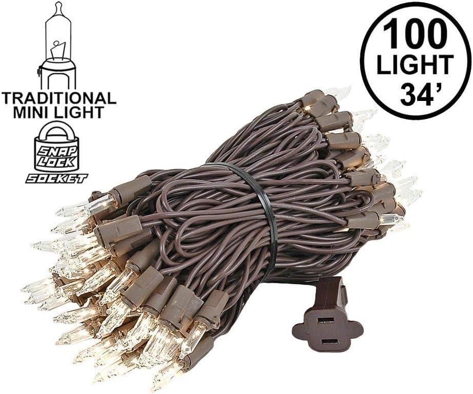 Novelty Lights 100 Light Clear Christmas Mini Light Set 34 Long/… White Wire