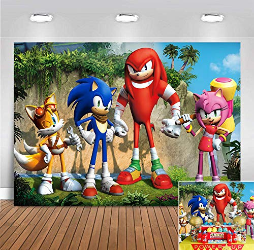Sonic Hedgehog Themed Photo Background Baby Shower Photo Booth Studio Props Supplies Vinyl Scenery Mountain Cartoon Photography Backdrop Boys Girls Birthday Party Banner 5x3ft
