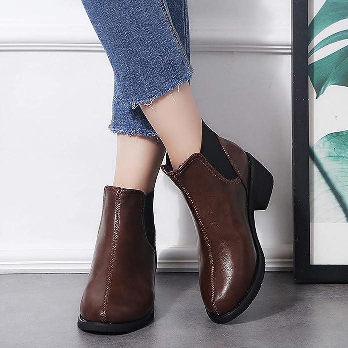 Botines de Tacon bajo para Mujer Invierno 2018 PAOLIAN Botas Chelsea Zapatos Señora Botas Militares caño cuña Marron Fiesta Casual Calzado Cuero y sintético ...