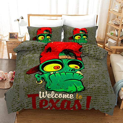 NOOS 3D Plant Wars Zombie Duvet Cover Set Cartoon Zombies Pattern Bedding Set Kids Girs Boys Teenagers Bed Set 100% Polyester 3PC Twin Full Queen King Szie