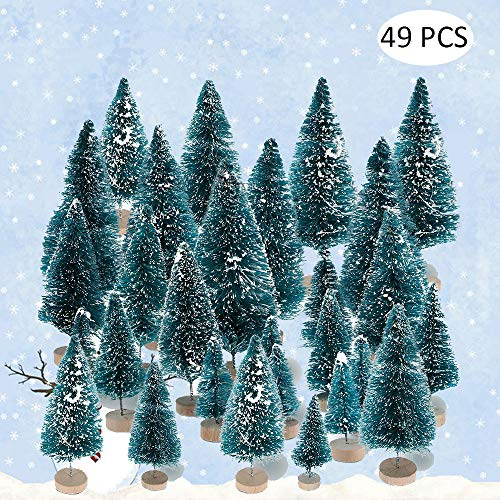 Onestmi Christmas Trees Ornaments Mini Sisal Snow Frost Trees Artificial Wooden Bases for DIY Craft Room Decor Home Table Top Decoration Display (49pcsTrees) (Christmas Chipping Trees)