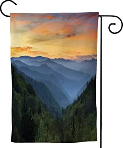 Hitecera Sunrise Landscape Great Smoky Mountains National Park Gatlinburg TN and Oconaluftee Valley NC,Welcome Garden Flag Garden Yard Banner Lawn Outdoor Decoration 28''x40''