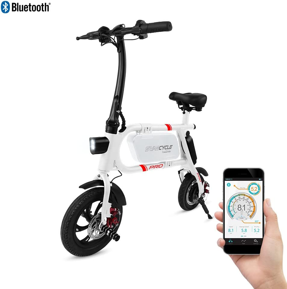 SwagCycle Pro Folding Electric Bike, Pedal Free and App Enabled, 18 mph E Bike with USB Port to Charge on...