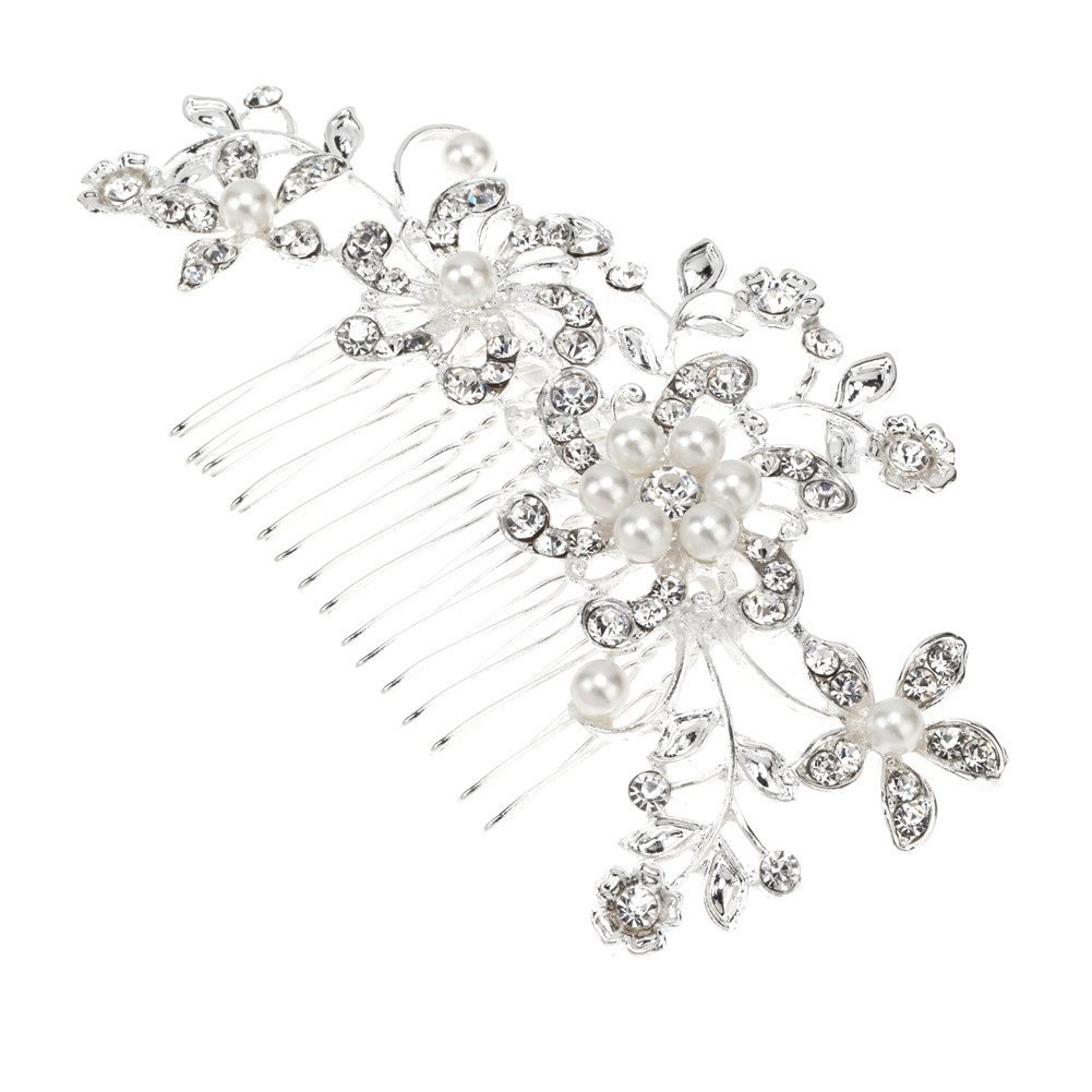 Fabulous Decorative Hair Styling Comb for Proms, Bridal Weddings Hairdos And Other Special Occasions With Flowers Shaped Decorations Embellished With White Pearls / Beads And Silver Crystals / Diamantes / Rhinestones By VAGA