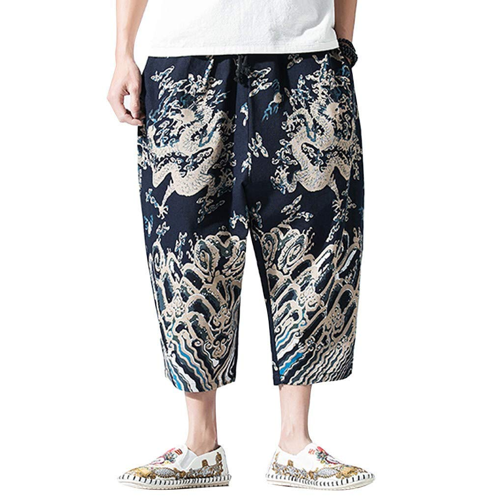 wodceeke Mens Summer Lounge Shorts, Sports Pants Cropped Trousers Linen Trousers Baggy Harem Pants (M, Dark Blue)