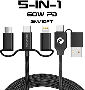 Futurizta Chimera 5-in-1 Universal Multi Fast Charging 60W PD Cable (3m/10ft) - Support Power Delivery for laptops, QC2.0/QC3.0, Samsung Fast Charging & High Speed Data Sync, Military Grade Nylon Braided with Premium Cord Organizer Strap