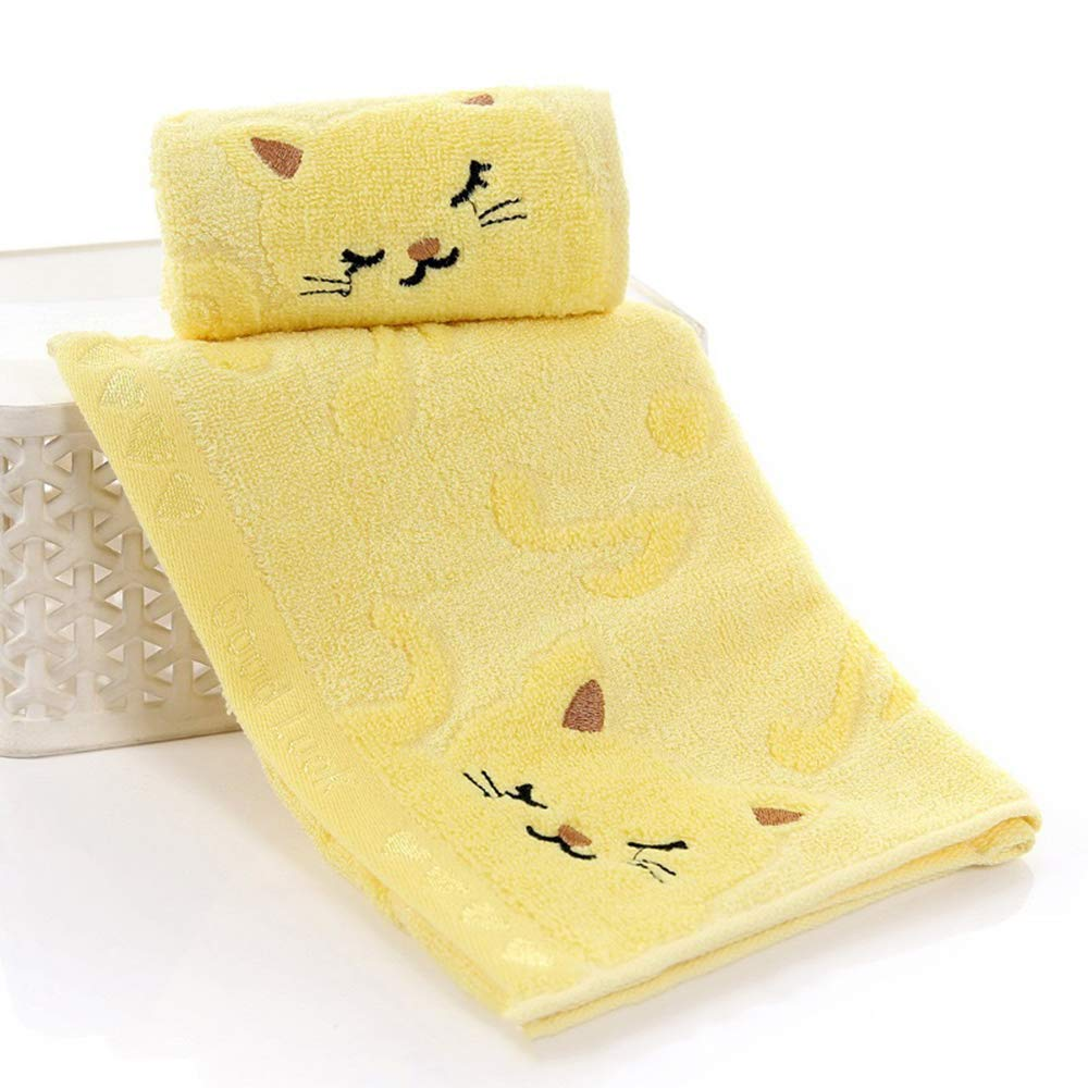 Xeminor Premium Kids Face Cloth Soft Washcloths Cute Cat Hand Face Towel Yellow