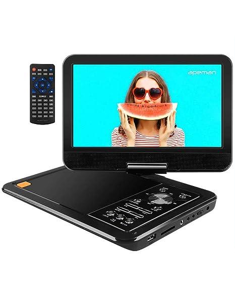 """APEMAN 10.5"""" Reproductor de DVD Portátil para el Coche Reproductor DVD con Pantalla Giratoria Soporta Tarjeta SD /USB /CD /DVD Batería Recargable con ..."""