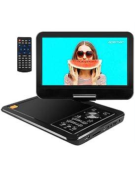 """APEMAN 10.5"""" Reproductor de DVD Portátil para el Coche Reproductor DVD con Pantalla Giratoria Soporta Tarjeta SD/USB/CD/DVD Batería Recargable con ..."""