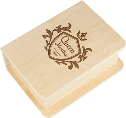 Caja de madera, forma de libro, Baúl, caja, del paquete ...