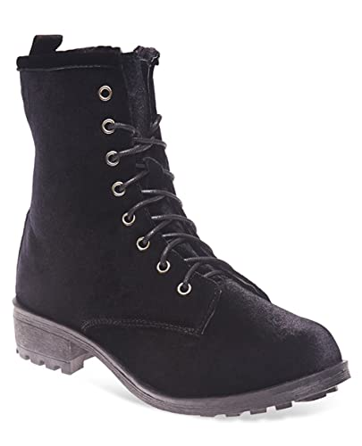 Women's Lace Up Lug Sole Velvet Combat Military Page Boot